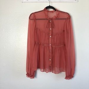 French Connection Sheer Long Sleeve Blouse